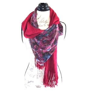 Mauve Floral Sheer Knit Fringe Two Scarf Set